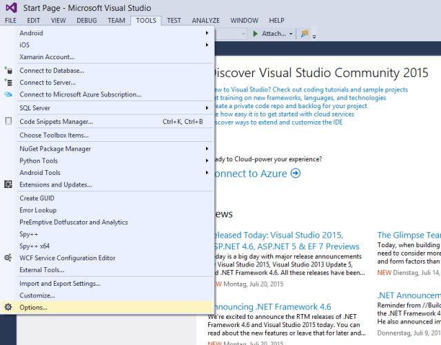 Das Visual Studio 2015 Sprachpaket