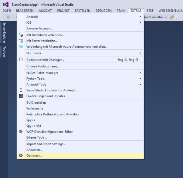 1. Wähle in der Menüleiste von Visual Studio Extras, Optionen aus.