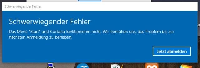 Windows 10 schwerwiegender Fehler: Menü Start und Cortana funktioniert nicht.