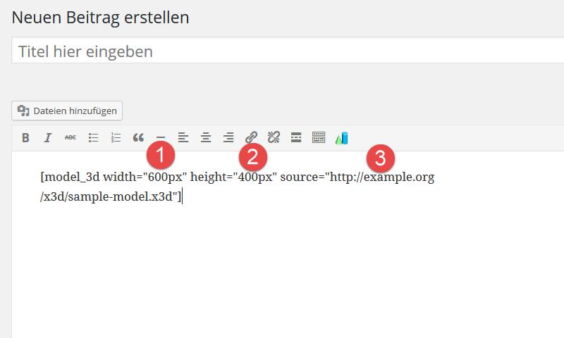 Shortcode von 3D-Modell Plugin hat mehrere Parameter
