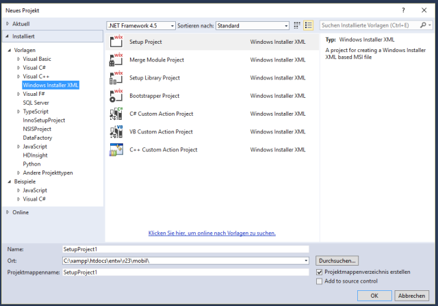 WiX Toolset in Visual Studio 2015