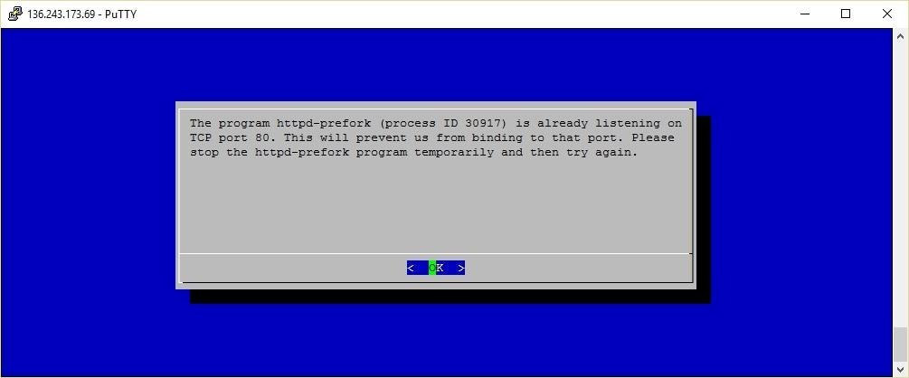 Bevor der Client gestartet werden kann, muss der Webserver auf dem Host kurz abgeschaltet werden