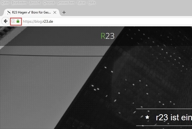 Die Schaltfläche zur Webseitenidentität befindet sich in der Adressleiste links neben der Adresse