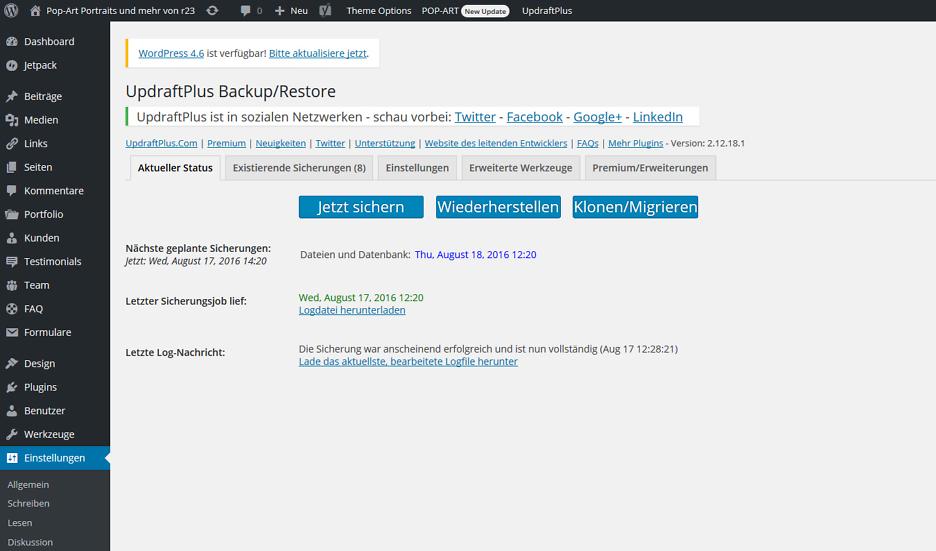 UpdraftPlus – Backup/Wiederherstellung