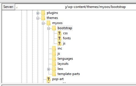 Blank Theme mit Bootstrap auf dem FTP-Server