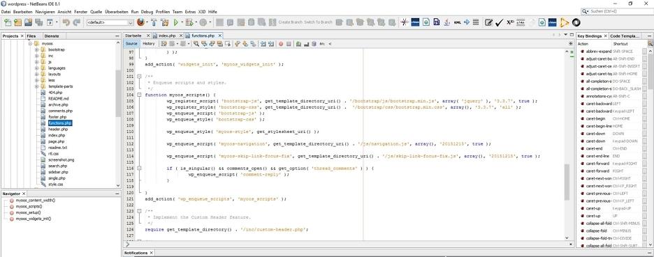 In die functions.php-Datei eingefügter Code