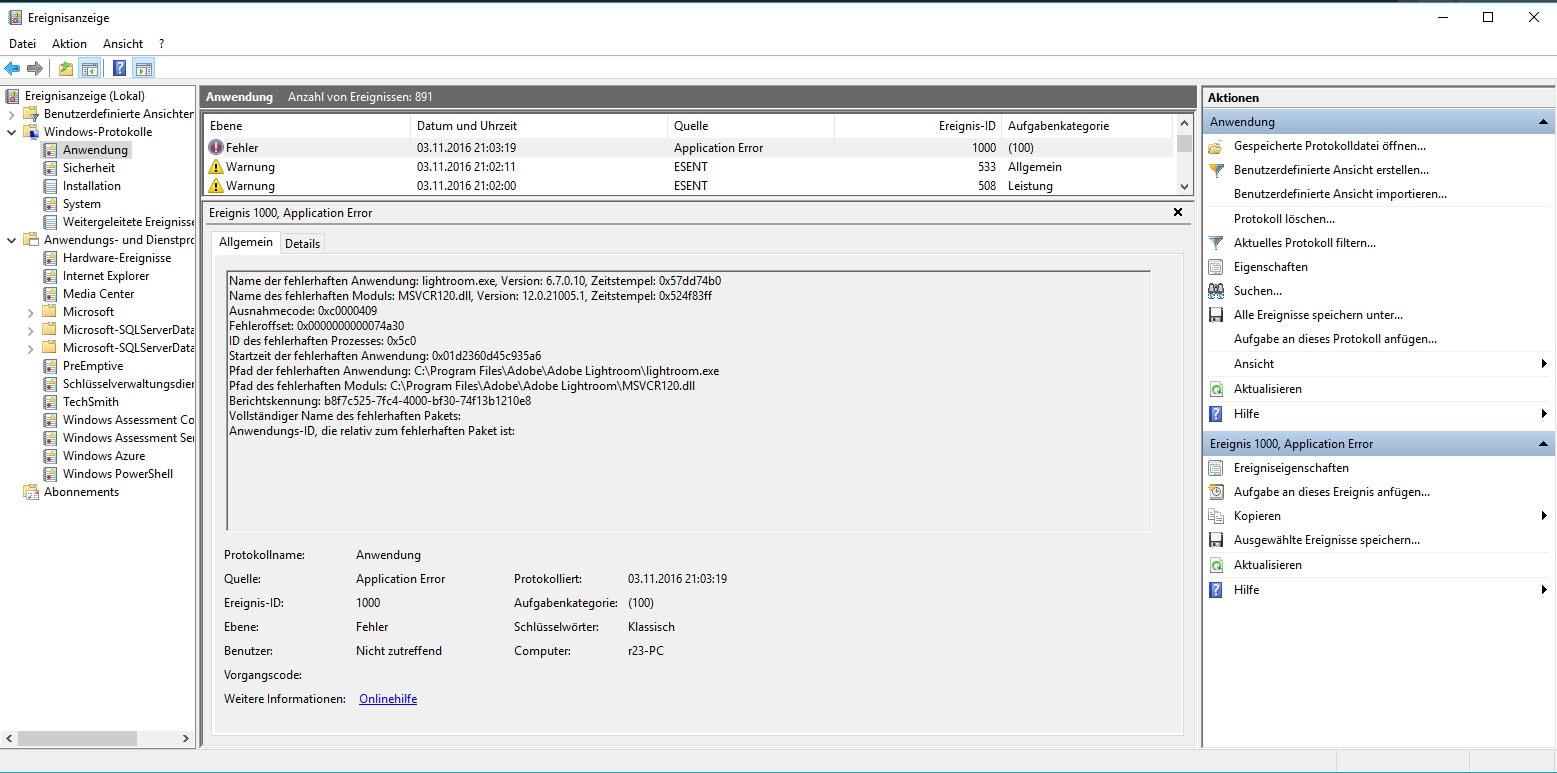 lightroom.exe, Version: 6.7.0.10, Zeitstempel: 0x57dd74b0 Name des fehlerhaften Moduls: MSVCR120.dll, Version: 12.0.21005.1, Zeitstempel: 0x524f83ff
