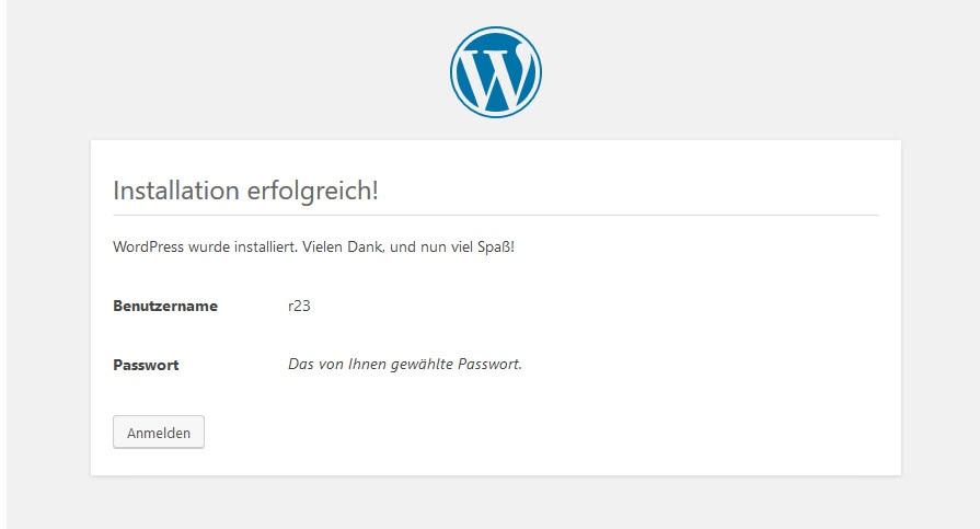 WordPress wurde installiert