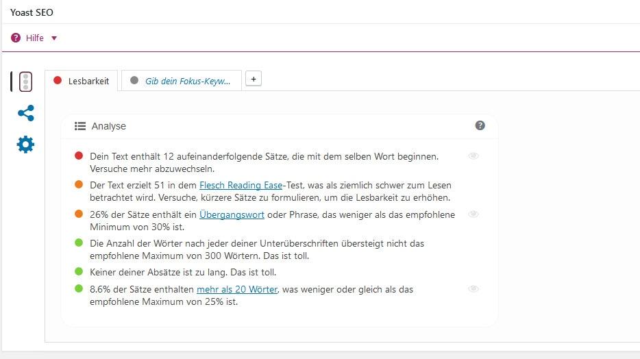 Dies ist die Inhaltsanalyse, eine Sammlung von Inhalts-Überprüfungen, die den Inhalt deiner Seite analysieren.