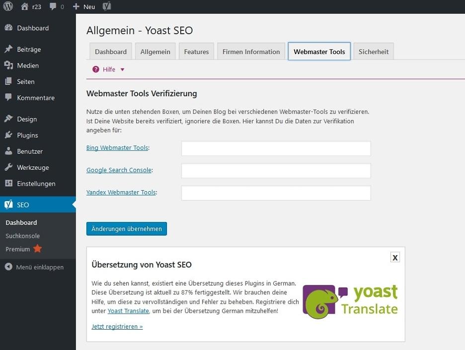 Webmaster Tools Verifizierung