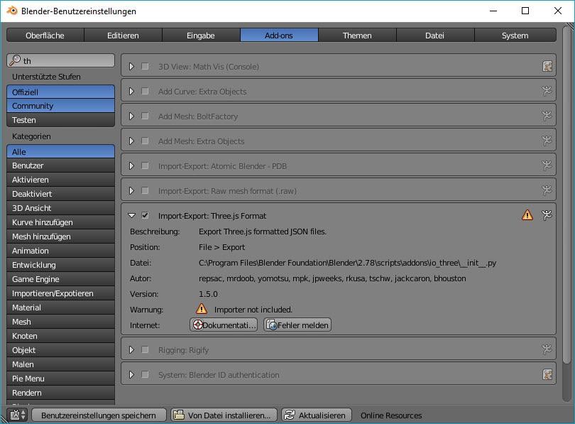 Blender-Benutzereinstellungen