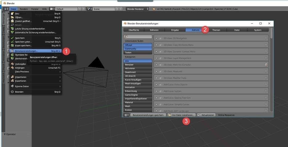 Öffne die Blender-Benutzereinstellungen, suche nach Addons, wähle von Datei installieren aus