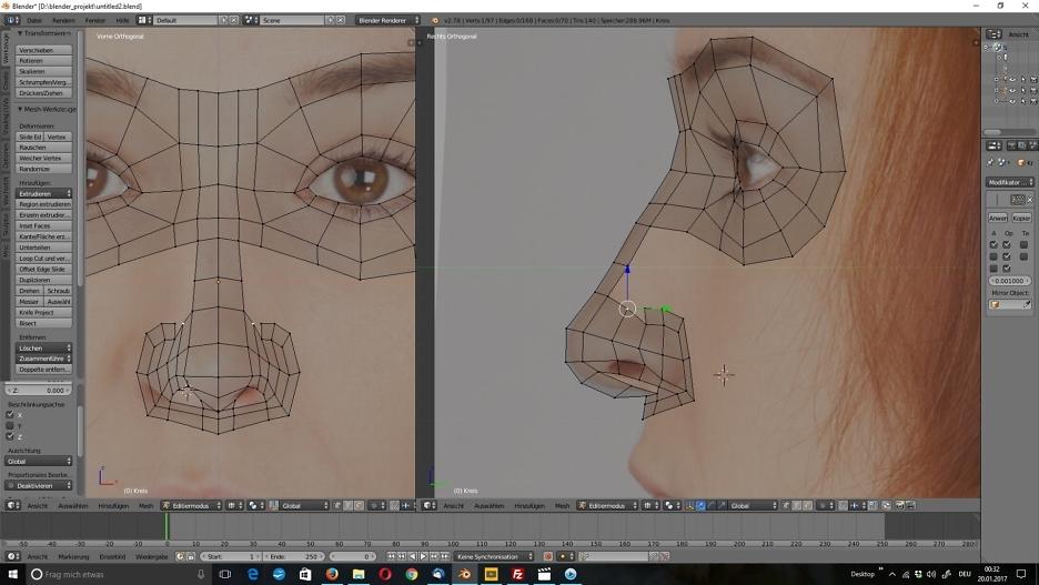 3D-Modellierung: Gesicht 3