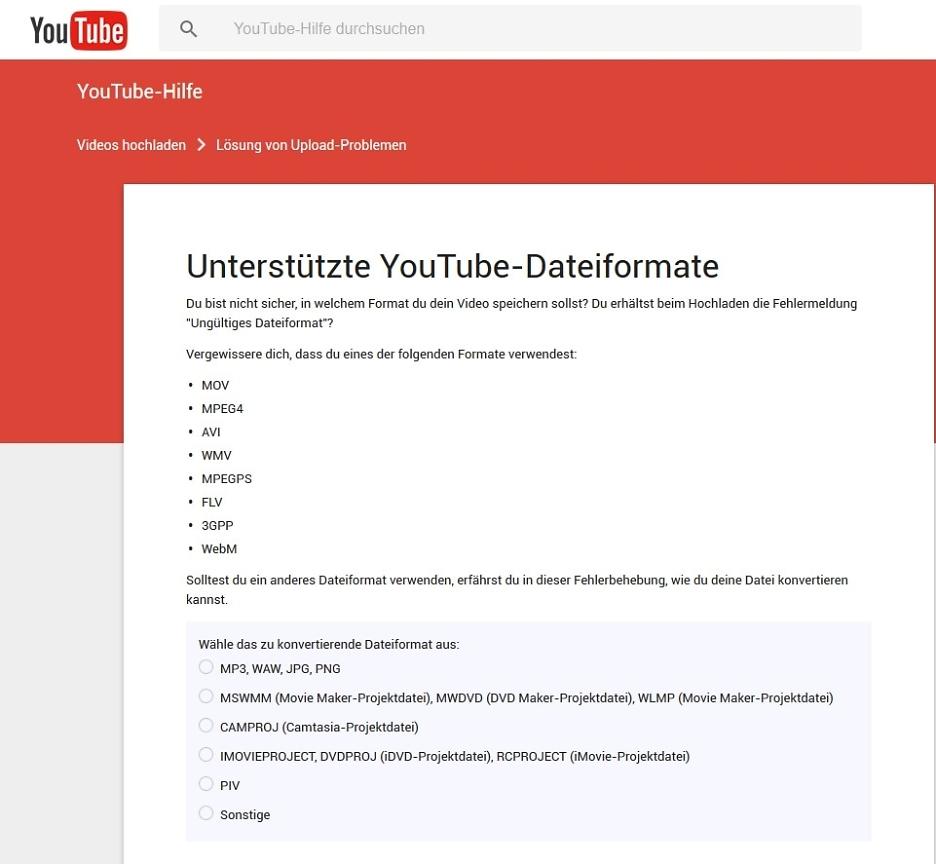 Unterstützte YouTube-Dateiformate