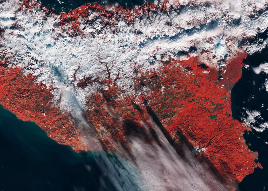 Satellitenbild der Woche: Sizilianischer Schnee