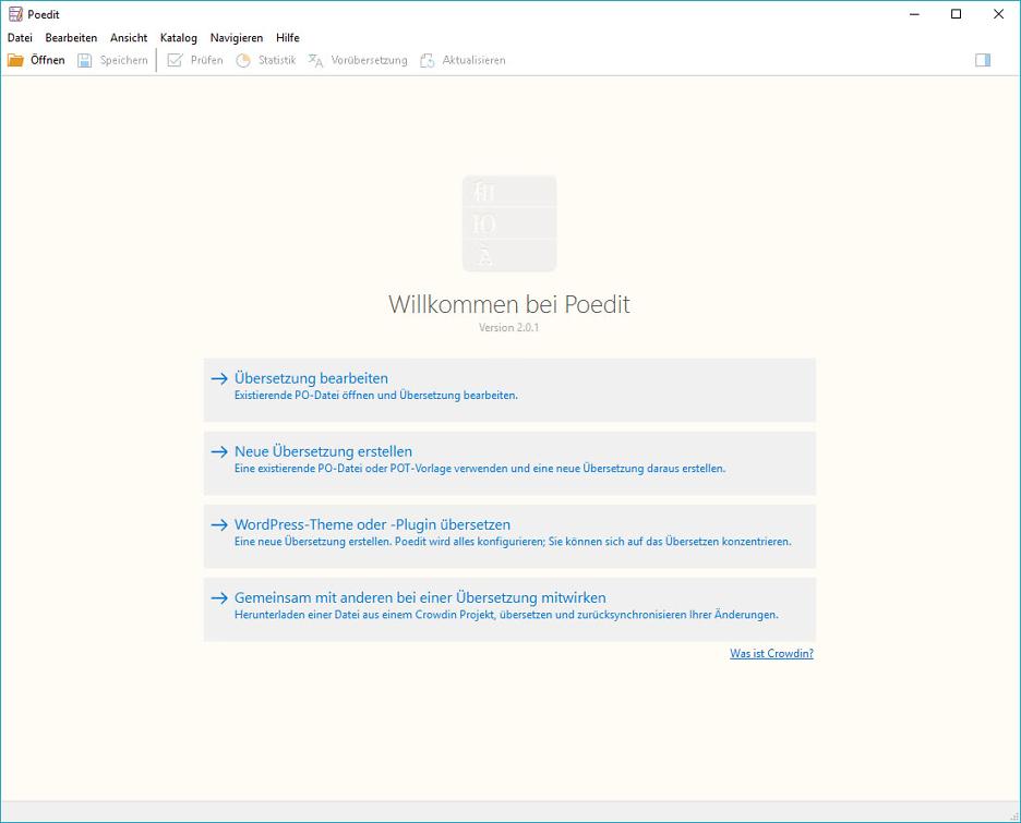 PoEdit: Übersetzung von Sprachdateien für WordPress-Themes: Auswahlfenster