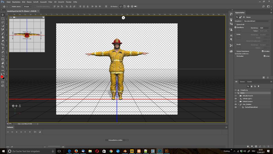 Du als Feuerwehrmann: 3D Model in Photoshop öffnen