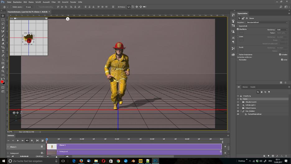 3D-Figur fertig positioniert