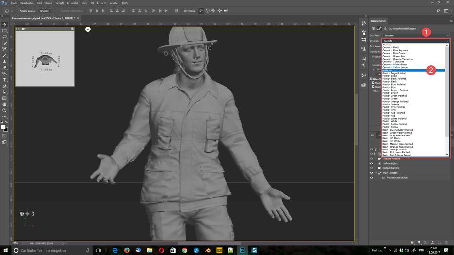 """Wähle """"3D"""" > """"3D Druckereinstellungen""""."""