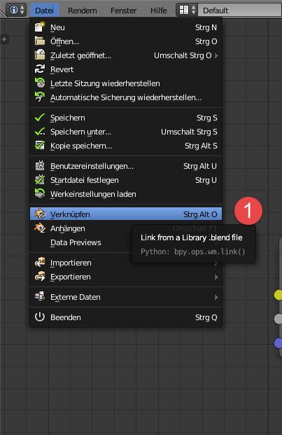 Zunächst muss die Blender-Datei, die die glTF 2.0-Materialien enthält, verlinkt oder angehängt werden.