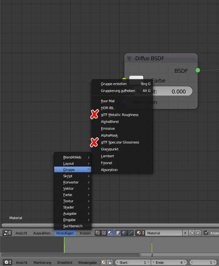 Nach dem Verknüpfen oder Anhängen des Eintrags ist das glTF 2.0 Material bereit, in dieser Blender-Szene verwendet zu werden.