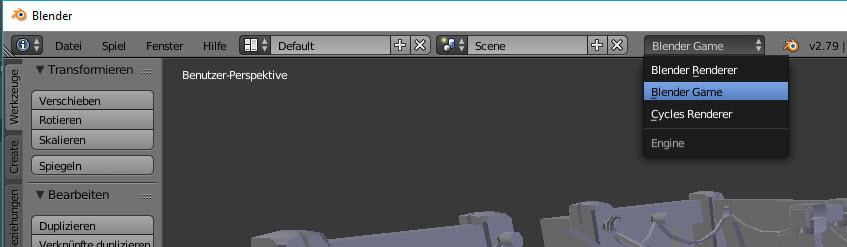 Verwende den Spielmodus in Blender.