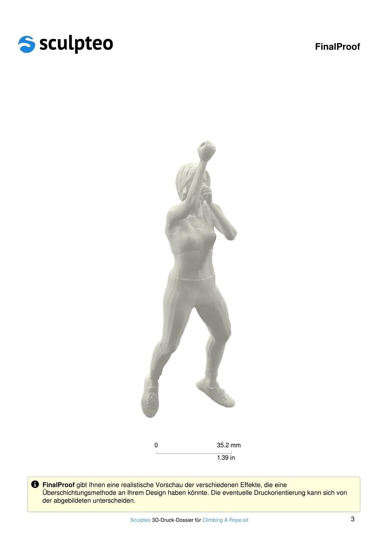 3D-Druck-Dossier für eine farbenfrohe Kletterin am Seil