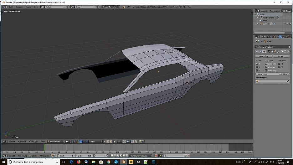 3D-Modelling von einem Auto nach Blaupausen