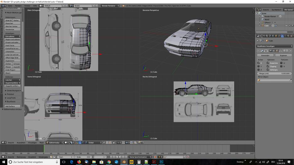 3D-Modelling von einem Auto nach Blaupausen - Tag 2