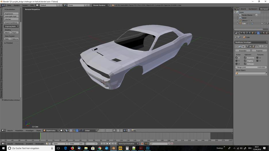 3D-Modelling von einem Auto nach Blaupausen - Tag 2 1