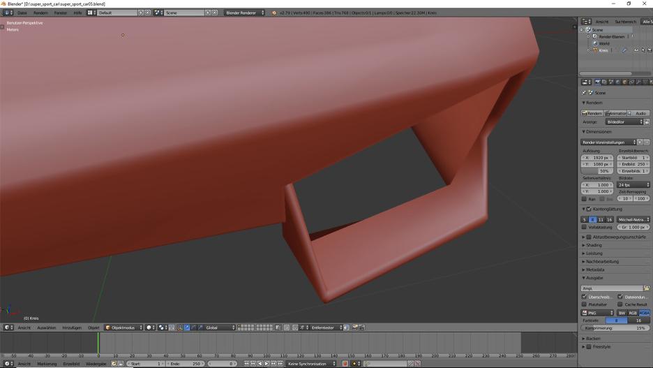 3D-Modelling von einem Supersportwagen nach Blaupausen