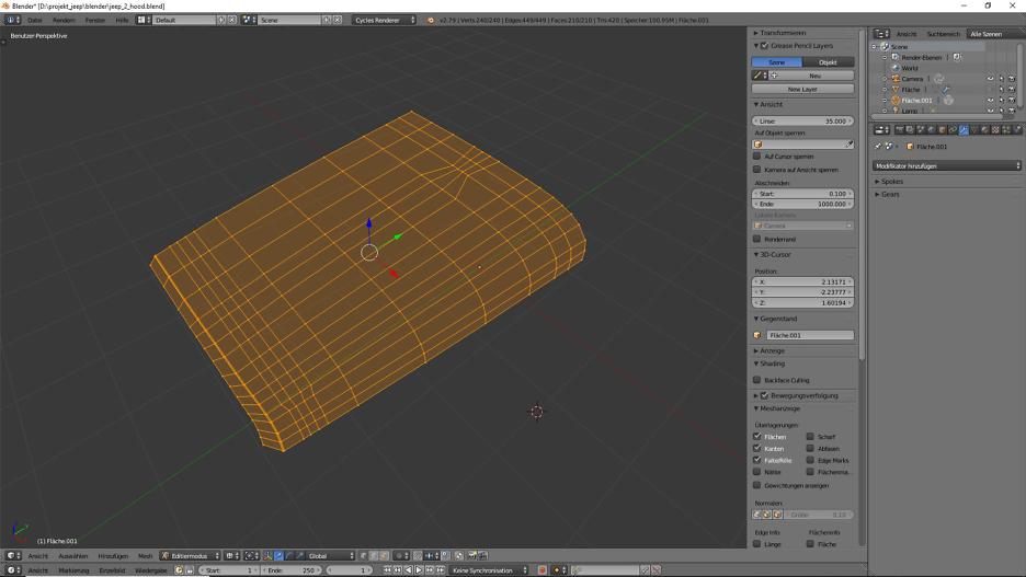 Tag 2: Blender Car Modeling: Motorhaube 2