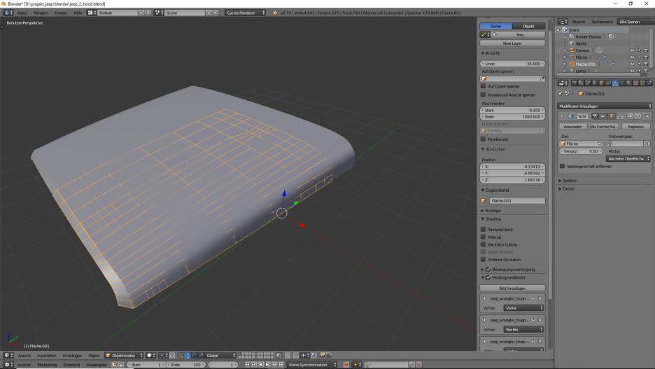 Tag 2: Blender Car Modeling: Motorhaube 3