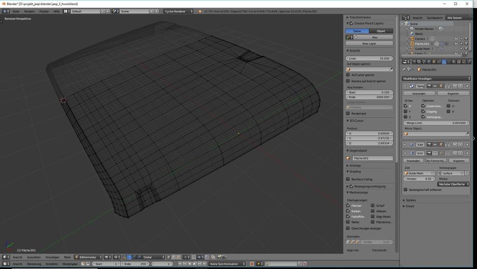 Blender Car Modeling: Motorhaube