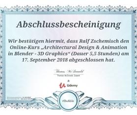 """Meine Abschlussbescheinigung für den Kurs """"Architectural Design & Animation in Blender – 3D Graphics"""""""