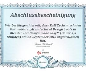 """Meine Abschlussbescheinigung für den Kurs """"Architectural Design Tools in Blender – 3D Design made easy!"""""""