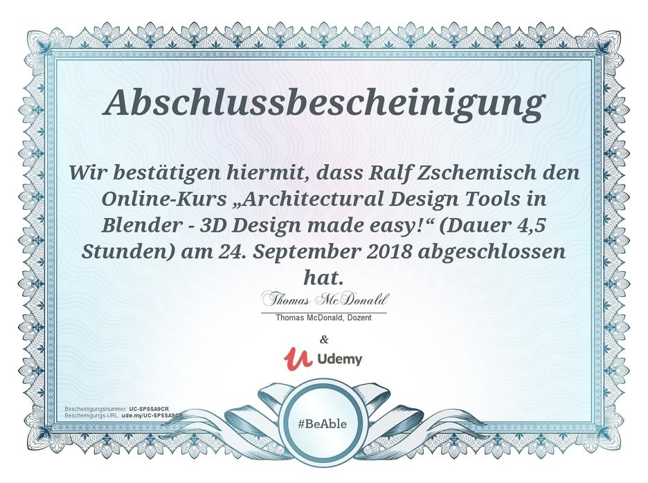 Abschlussbescheinigung Blender Kurs