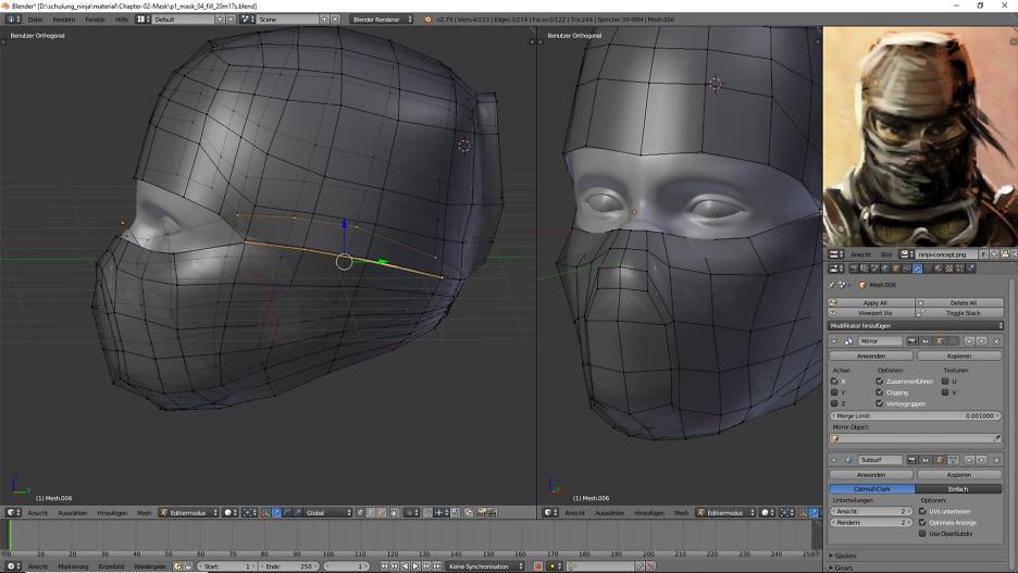 3D Charakter: Ninja-Maske 6