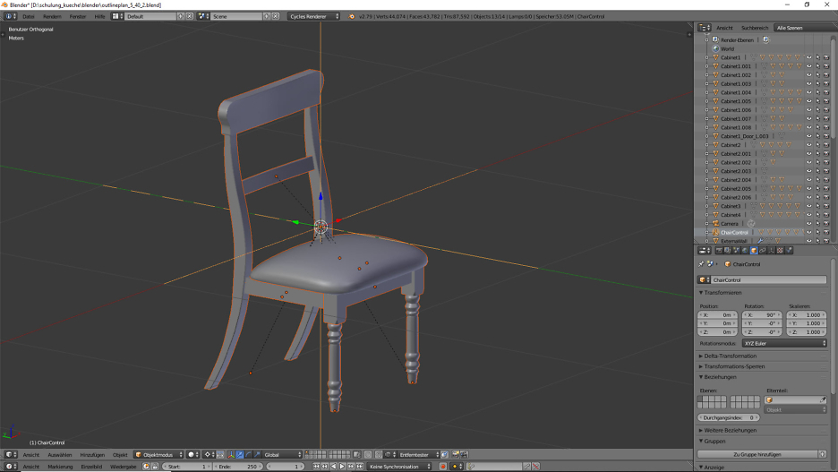Stuhl in Blender fertig modeliert