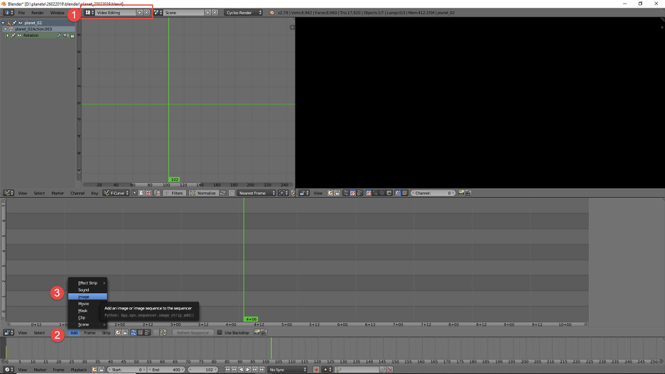 "Layout auf ""Video-Editing"