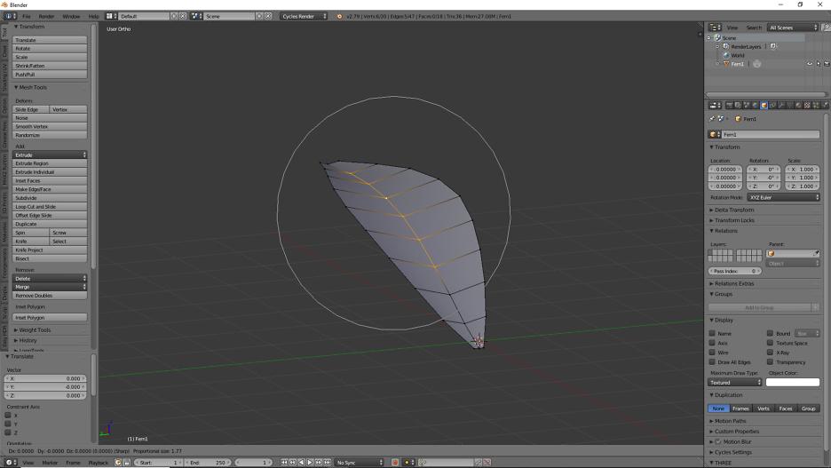 3D Modellierung von einem Farnblatt