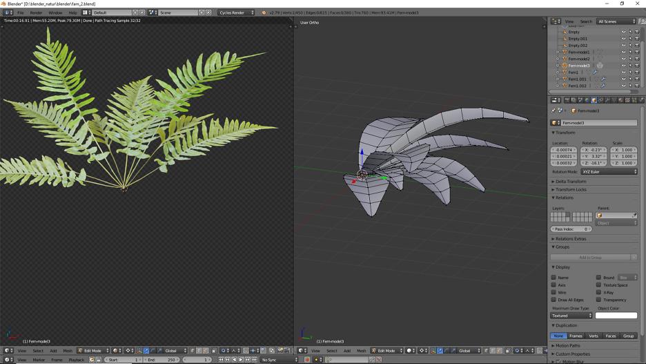 Halbe Farn Pflanze in 3D