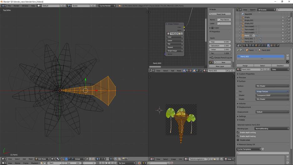 Das Polygon Mesh kann man für die Blattform in Edit Mode ändern.