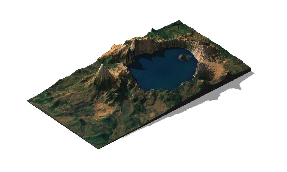 Multicolor 3D-Druck: Vulkan Mount Mazama – 3D Geländekarte 1