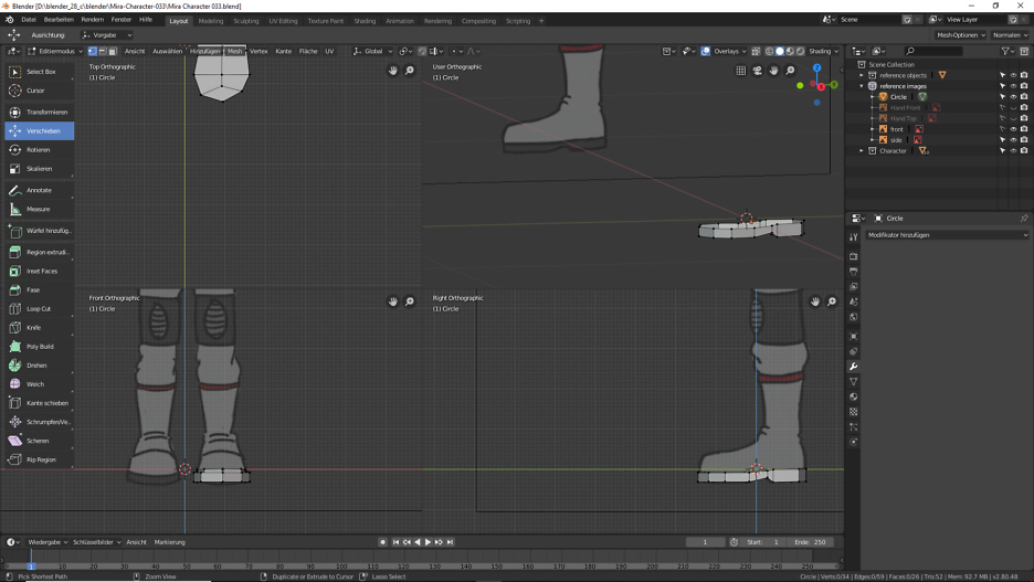 Vier Ansichten in Blender