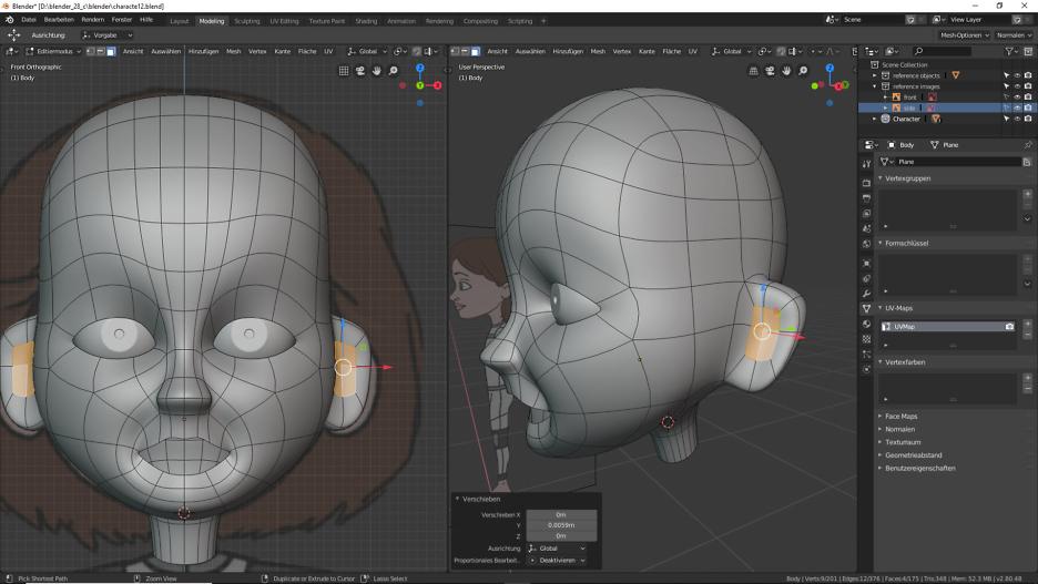 Modellierung der Ohren 3