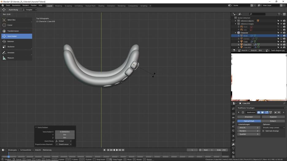 Blender: Zähne für unsere 3D Figur