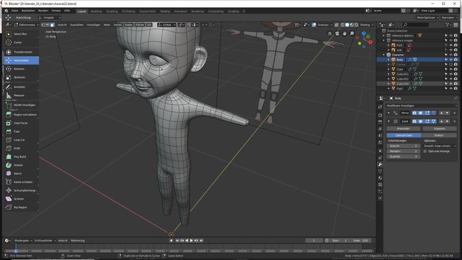 Blender Modellierung der Arme