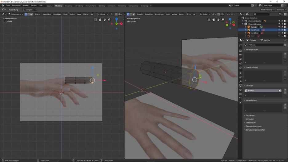 Modellierung der Finger mit Blender