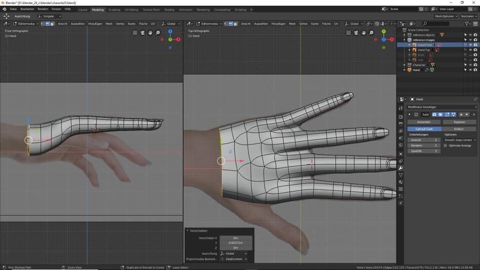 3D Modellierung einer Hand